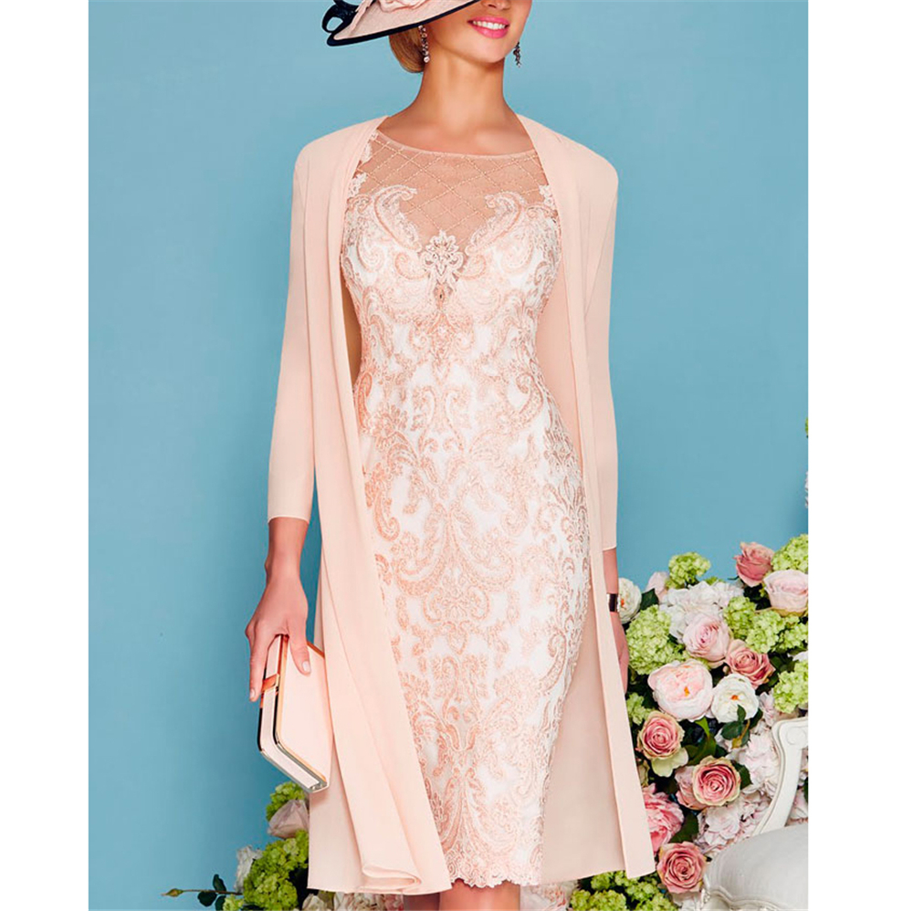 Pink Mother Of Bride Dress 2019 Guest Gown Lace Elegant 3/4 Sleeve With Jacket Plus Size For Wedding Party Vestidos De Fiesta
