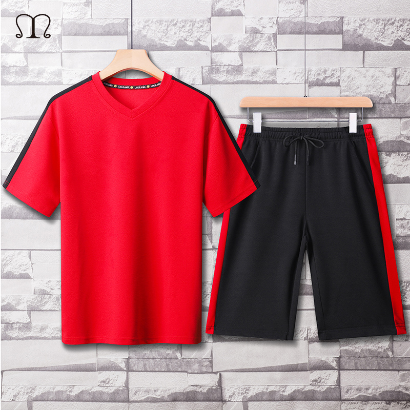 Two Pieces Mens Sets Hip Hop Tshirt Shorts Casual Tracksuit Set Men Sweat Suit Fashion Brand Patchwork Sportswear Male Red Black