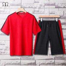 二枚メンズセットヒップホップ tシャツショーツカジュアルトラックスーツセット男性スーツスウェットスーツファッションブランドパッチワークスポーツウェア男性赤黒メンズセット