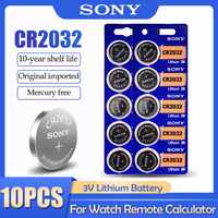 10PCS SONY CR2032 CR 2032 DL2032 ECR2032 BR2032 3V Lithium Battery For Watch Toy Calculator Car Remote Control Button Coin Cell 1