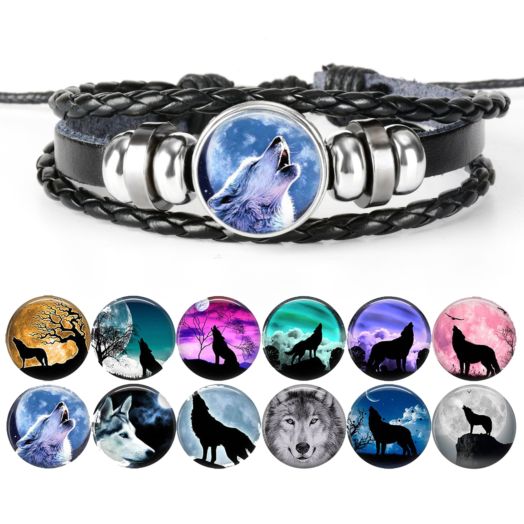 High Quality Men's Wolf Bracelets Hot Selling Wolf Charm Leather Bracelets Punk Jewelry PU Leather Bangle Gifts for Men Birthday image