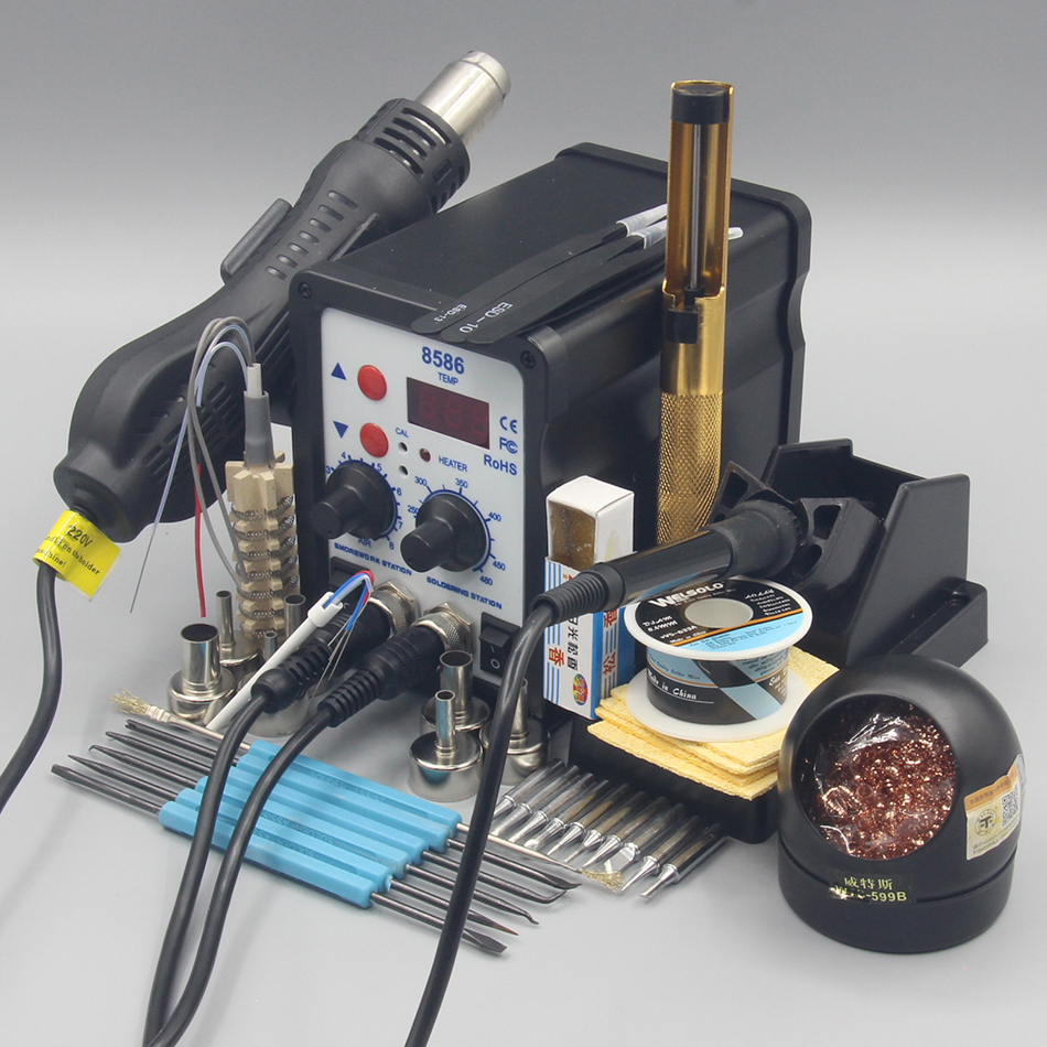 LED Soldering Iron Desoldering Rework Solder Station Hot Air Heater Tool Kit