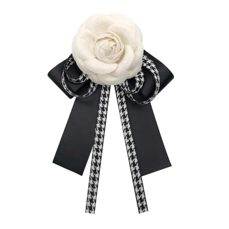 Moda coreana elegante tessuto camelia fiore fiocco spilla Pin Nacktie Cloth Art Vintage Bowknot cravatte abbigliamento e accessori donna