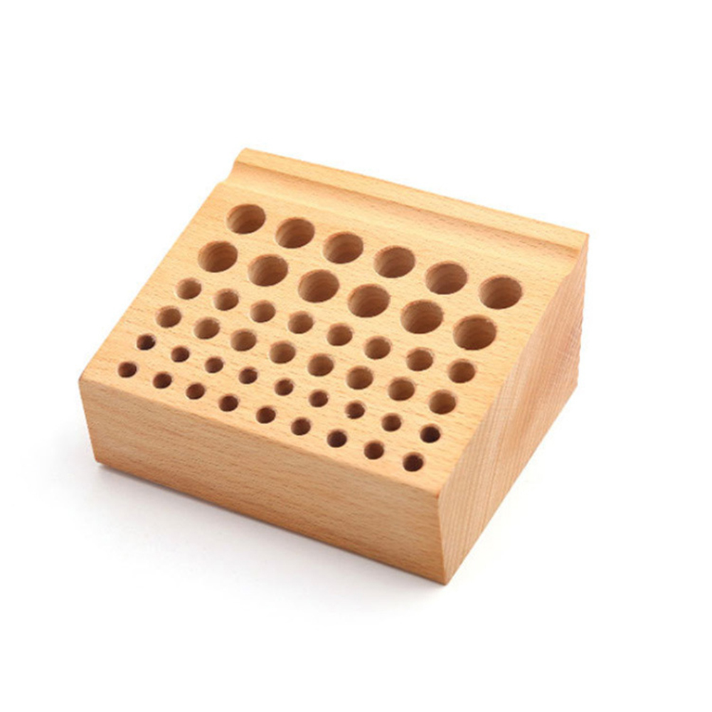 Frame 46 Hole DIY Drill Bit Box Storage Rack Tool Holder Brush Screwdriver Seat Home Placement Wood Mini Professional