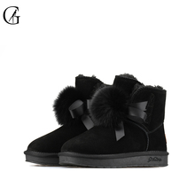 Buy GOXEOU/2019 Women Boots For Winter Cow Suede Female Ankle Silp-On Boots Solid Fashion Shoes directly from merchant!
