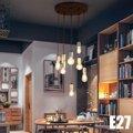 E27 современные потолочные светильники  потолочный светильник для кофейного бара  Домашний Светильник  украшение для ресторана  круглая пла...