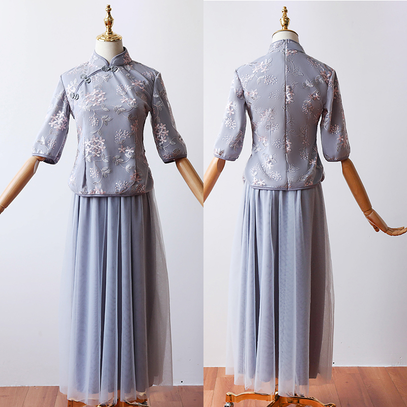 2 Pieces/set Tea-length Gray Blue Vintage Bridesmaid Dresses Embroidery Cheongsam Half Sleeve Elegant Wedding Party Dress Prom