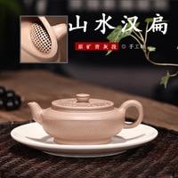 Escuro-vermelho esmaltado cerâmica bule yixing minério cru cinza cal seção lama paisagem han bian pote famoso manual infusão de chá
