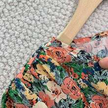 Vrouwen Midi Jurk Gebloemde Jurk 2021 Nieuwe Zomer V-hals Volledige Mouw Slanke Taille Geplooide Lange Jurken Vrouwelijke Outfit