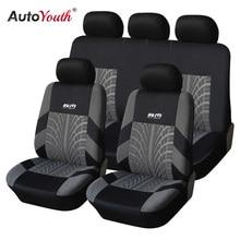 Autoyouth タイヤラインシートカバー & サポートフル車のシートカバーユニバーサルオートインテリアアクセサリーグレーカーシートプロテクター