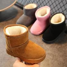 Children's Shoes Snow Boots Unisex 2020 New Winter Boys Thick Plush Shoes Solid Girls Warm Shoes Kids Short Martin Boots Student(China)
