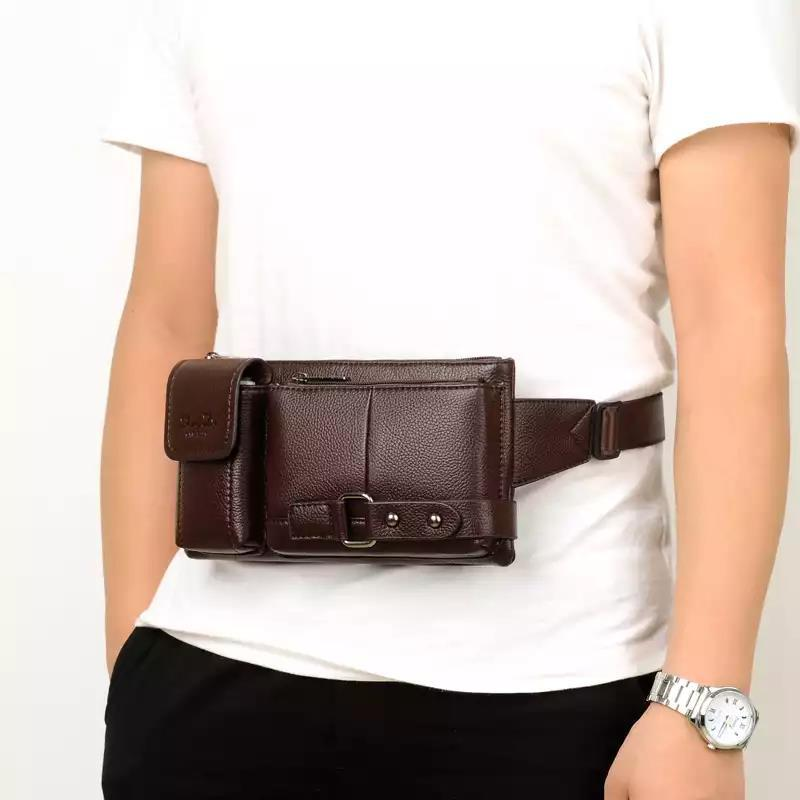 Designed For Outdoor Sports Men Wallet Shoulder Retro Men Chest Pack Soft Leather Belt Bag
