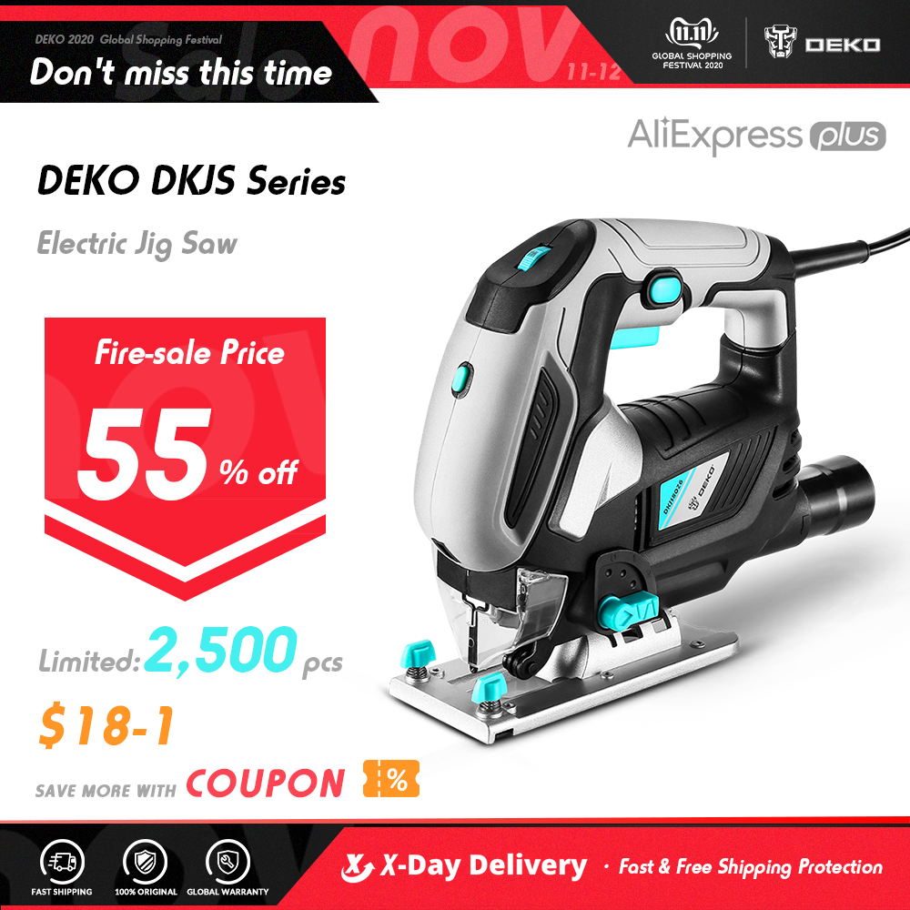 DEKO Jig Saw Variable SpeedElectric Saw with 1 Piece Blades, 2 Carbon Brushes, 1 Metal Ruler, 1 Allen Wrench Jigsaw Power Tool Electric Saws  - AliExpress