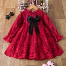Рождественское платье для девочек Красное Кружевное Платье на