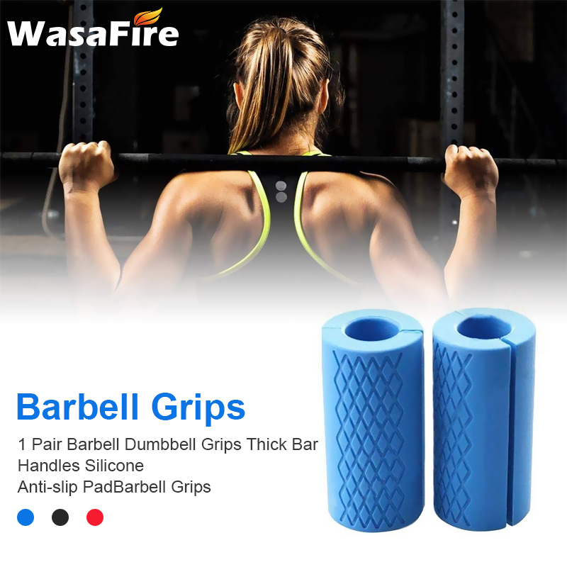 1 Pair Dumbbell Grips Barbell Thick Bar Handles Kettlebell Fat Grip Weightlifting Support Silicone Anti-slip Protect Pad