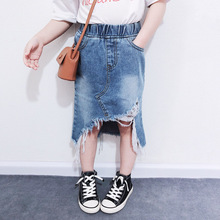 2020 Summer Baby Girls Denim Skirt Clothes Ripped Jeans Soild Skirts For Kids Girl Casual A-line Ruffles Skirt For Bottom 2-7Y