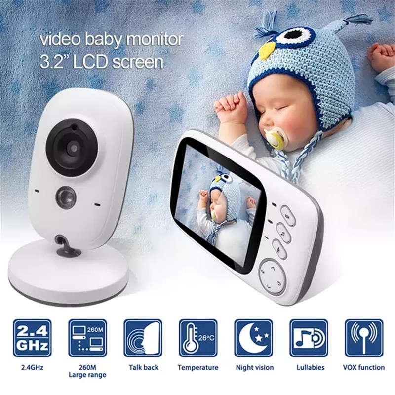 Wireless Video Color Baby Monitor 3.2 Inch High Resolution Baby Nanny Home Security Camera Night Vision Temperature Monitoring