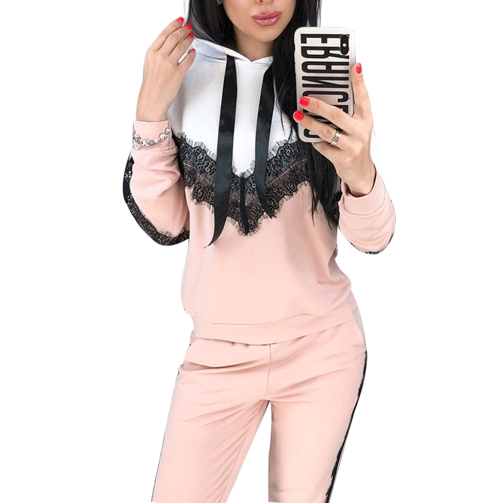 Women Set O Neck V-type Lace Long Sleeve Hoodies + Long Pant 2Pcs Ladies Sport Wear Femme Running Tracksuit Casual Suit