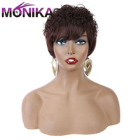 Monika Brazilian Short Human Hair Wigs For Black Women Remy Full Machine Pixie Cut Wig Mix Brown Perruque Ombre Wigs With Bangs