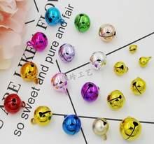 Clochettes en cuivre pour décoration d'arbre de noël, DIY bricolage, couleur mixte, artisanat, Mini cloche ronde, placage sous vide, brillant, 50 pièces/ensemble