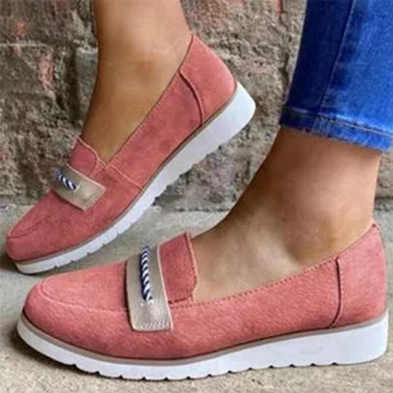 Wanita Wedge Wanita 2020 Musim Semi Musim Gugur SLIP ON Dangkal Wanita Sepatu Kasual Wanita Ternak Vucanized Plus Ukuran Sepatu 43