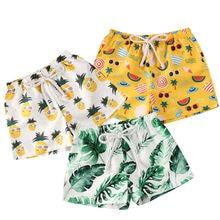 Пляжные шорты для маленьких мальчиков от 0 до 4 лет пляжные шорты для мальчиков с тропическим принтом летние плавательные штаны пляжные шорты для мальчиков
