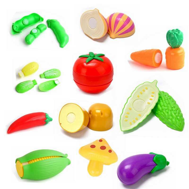Cocina Comida de juguete vegetal cocina miniatura chica falso pretender jugar chico juguetes que se puede cortar calabaza amarga de juguete para los niños
