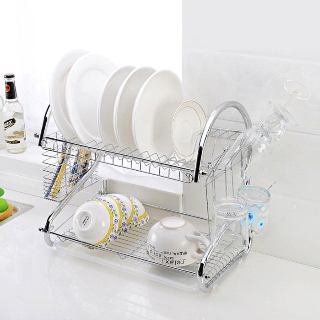 2 Layer Dish Rack Dish Drain Rack Storage Dish Knife Fork Glass Drying Rack Household Washing Large Kitchen Sink Dish Drain Rack