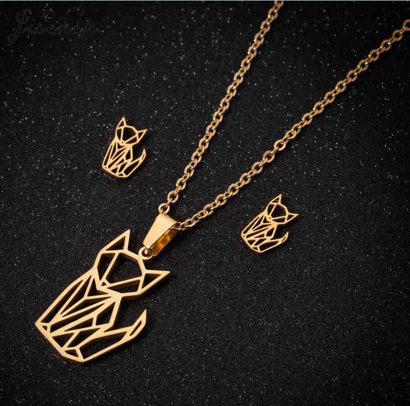 Jisensp nowa moda zestawy biżuterii ze stali nierdzewnej Hollow piękny Fox wisiorek naszyjnik kolczyki dla kobiet biżuteria dla zwierząt prezent