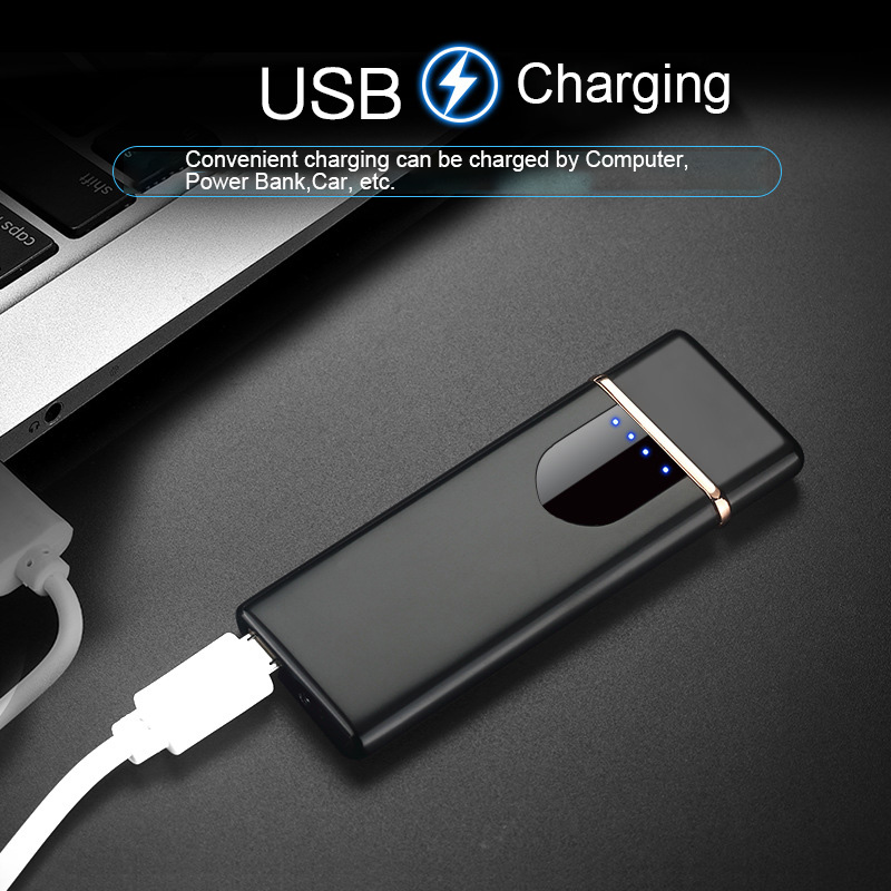 Dual Arc Plasma Cigarette Lighter Usb Rechargeable Touch Induction Screen Windproof Flameless Electronic Charger Lighter
