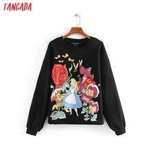 Tangada, женские забавные черные кофты с рисунком, с длинным рукавом, с круглым вырезом, свободные пуловеры оверсайз, женские топы CE130