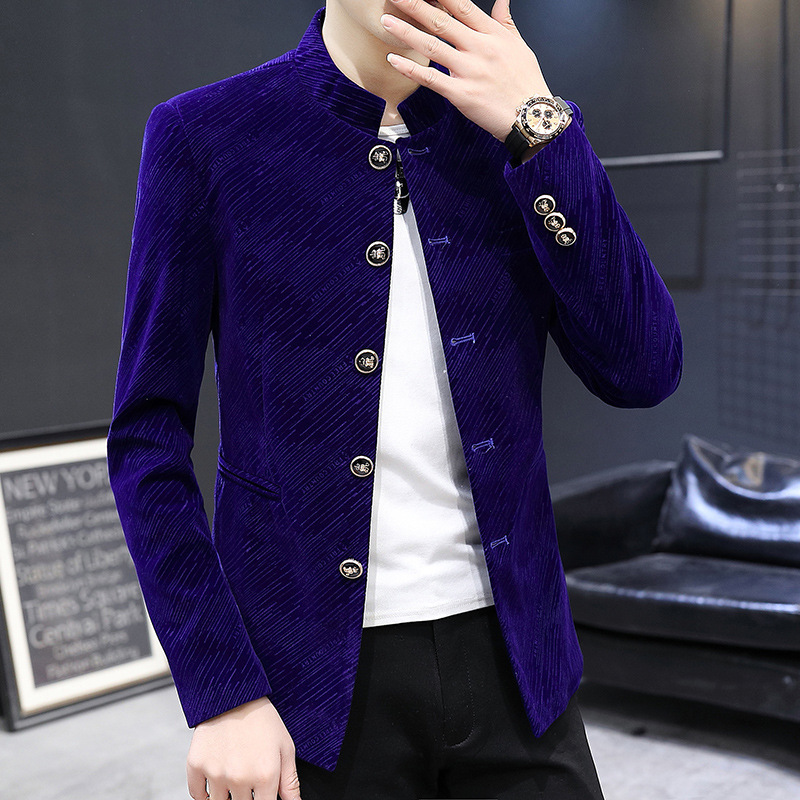 2020 Men New Style Gloss Twill Gold Velvet BLAZER Youth Stand Collar Single Breasted BLAZER