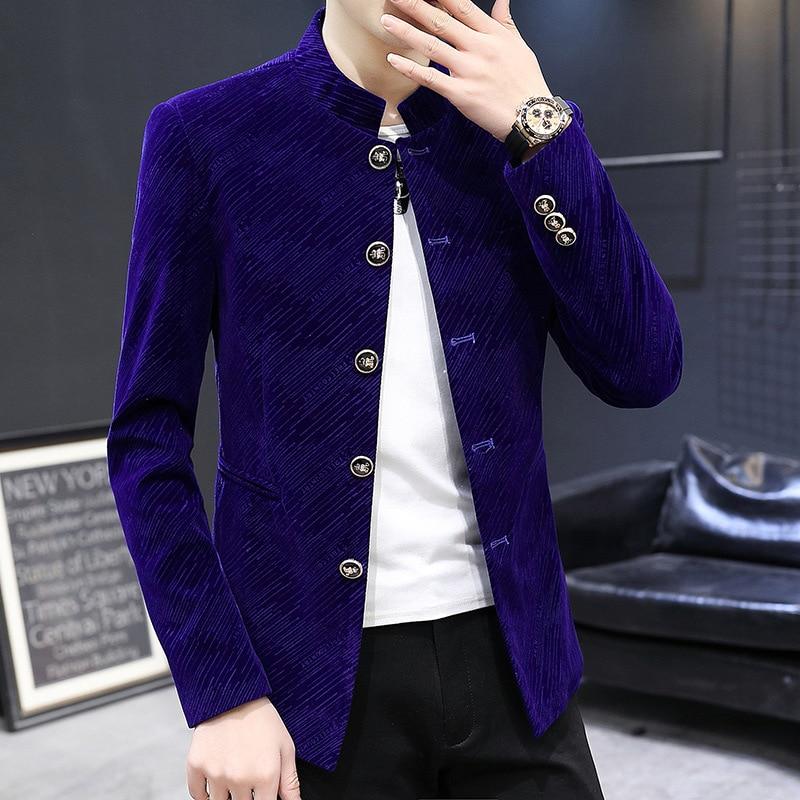 2020 Men New Style Gloss Twill Gold Velvet BLAZER Youth Stand Collar Single Breasted BLAZER