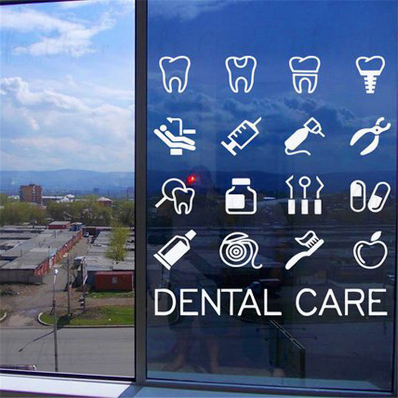 Dental Care Tools Set Vinyl Wall Sticker Stomatology Teeth Wall Art Decals Dentistry Clinic Dentist Office Window Decoration H44(China)