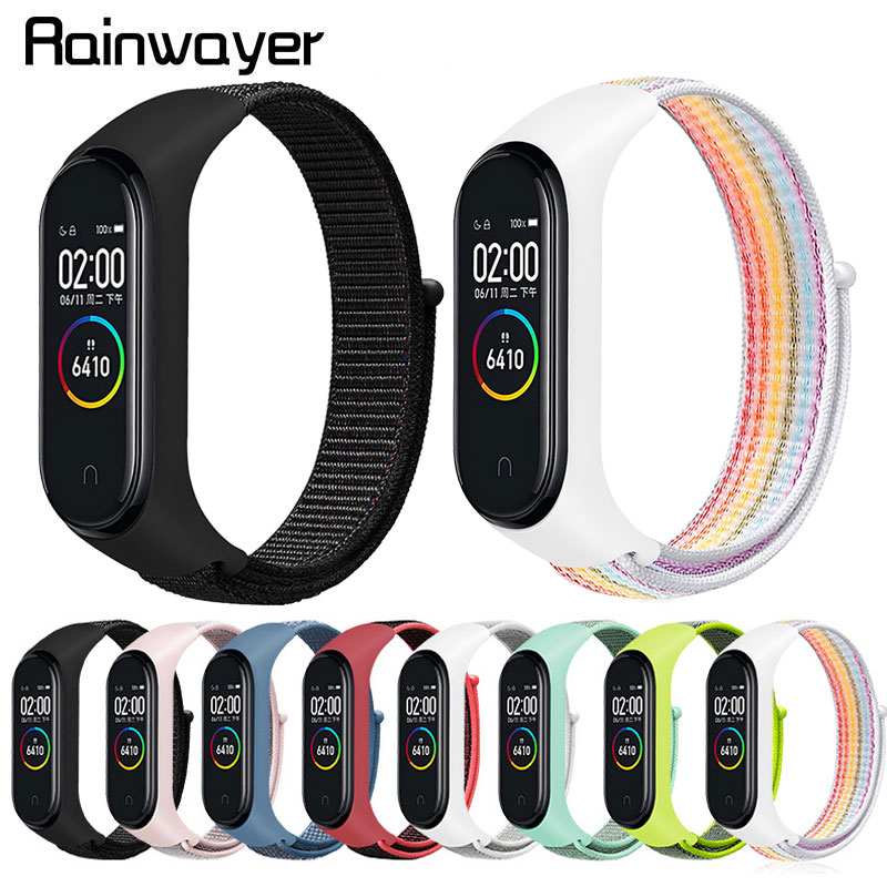 Colorful Nylon Strap For Xiaomi Mi Band 4 3 Bracelet Wristband Bracelet For Miband 3 4 Replacement Breathable Strap