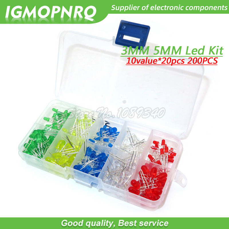 200PC 3MM <font><b>5MM</b></font> each 20pcs <font><b>Led</b></font> Kit Mixed Color <font><b>Red</b></font> Green Yellow Blue White Light Emitting Diode Assortment with free Box image