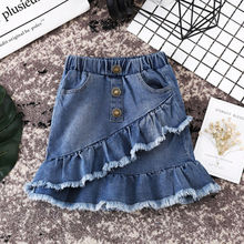 US Seller Toddler Kids Girls Blue Denim Mini Skirt Short Dress Jean Ski