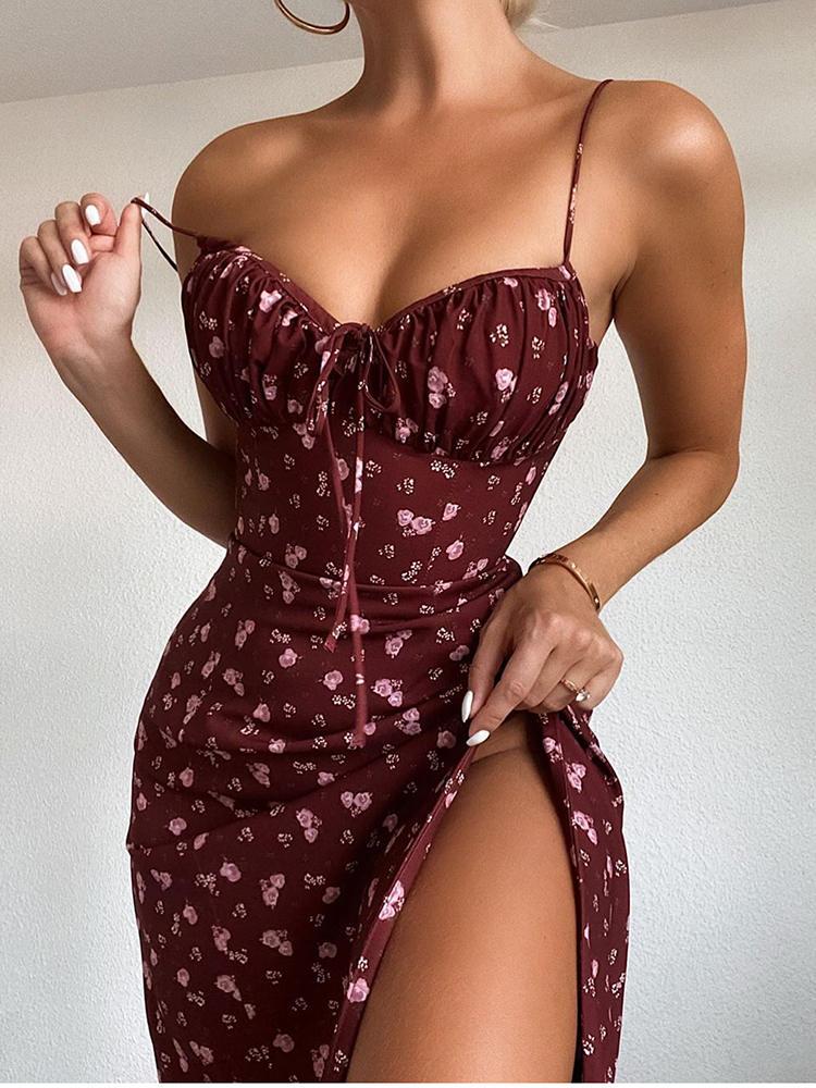 Dress Women Club Glamaker Backless Party Floral-Print Sexy Bodycon Elegant High-Split