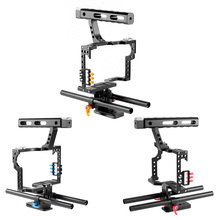 Aluminum Alloy Camera Cage Video Film Stabilizer Rig + Top Handle Grip + Rod for