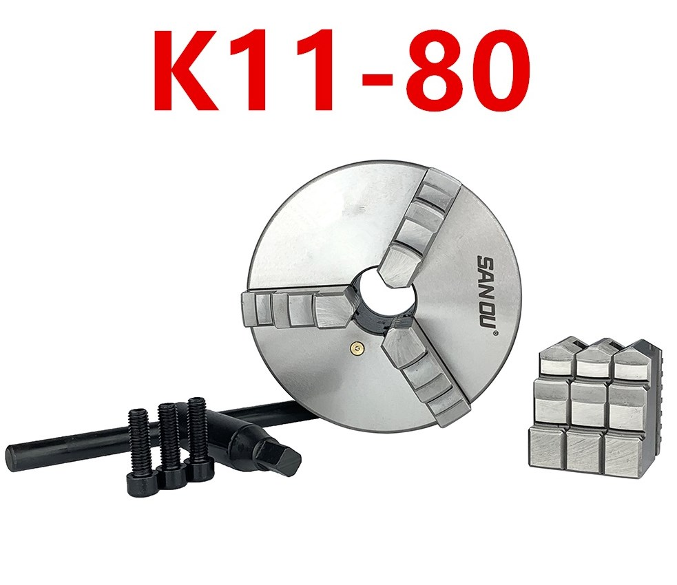 SAN OU K11- 80/K11- 100/K11- 125 3 Jaw Lathe Chuck 80mm/100mm/125mm/ a Wrench, 3 Screws / a Positive Claw and a Reverse Claw