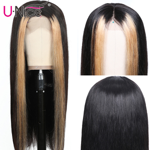 """Image 4 - Unice Hair 13x4 Highlight Lace Front Human Hair Wigs 8 24"""" Brazilian straight Hair Wigs Human Hair Natural Wigs Free Shipping"""