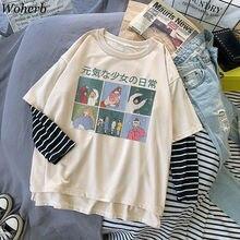 Woherb Kawaii Cartoon Print Patchwork T-shirt Women Fake 2 Pieces Striped Long Sleeve T Shirts Loose Harajuku Tees 2020 Summer
