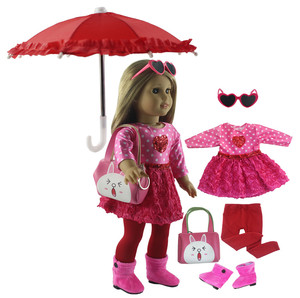Image 1 - New 1 Set Pink Dress Doll Clothes for 18 American Bitty Baby Doll Handmade Fashion Lovely Clothes X89