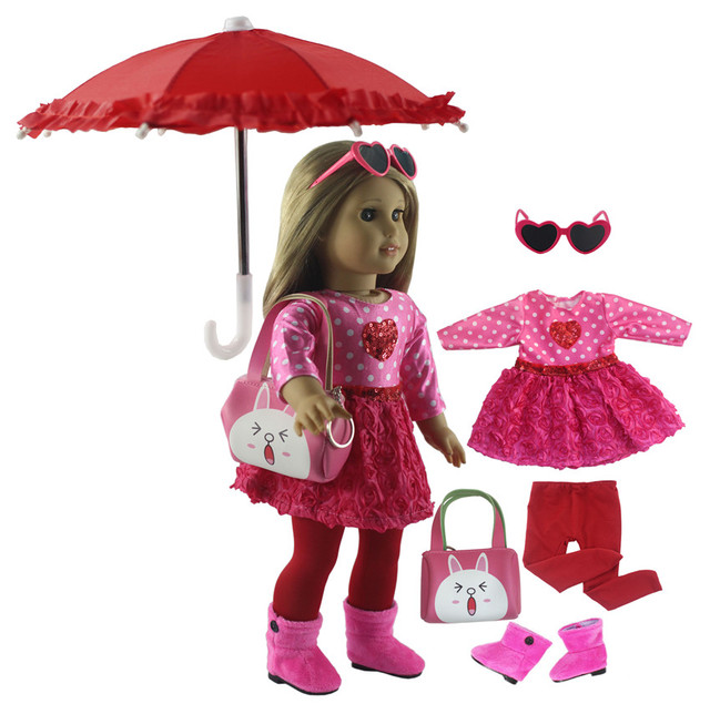 New 1 Set Pink Dress Doll Clothes for 18 American Bitty Baby Doll Handmade Fashion Lovely Clothes X89