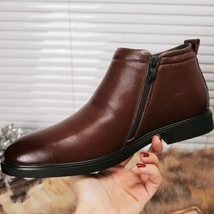 Image 4 - עור אמיתי גברים חורף מגפי קרסול מגפי אופנה הנעלה אתחול נעלי גברים מזדמנים גבוה למעלה גברים נעלי zapatos דה hombre