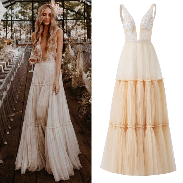 Boho Deep Sexy V Neck Sleeveless Backless Bridal Beach Tulle Lace Floor Length A-Line Champagne Wedding Dress Bridal Gown 1