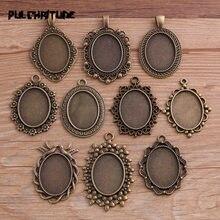 10 Uds. De colgante de cabujón ovalado para mujer, de aleación de Metal y Bronce Antiguo, tamaño interior de 18x25mm, 10 estilos