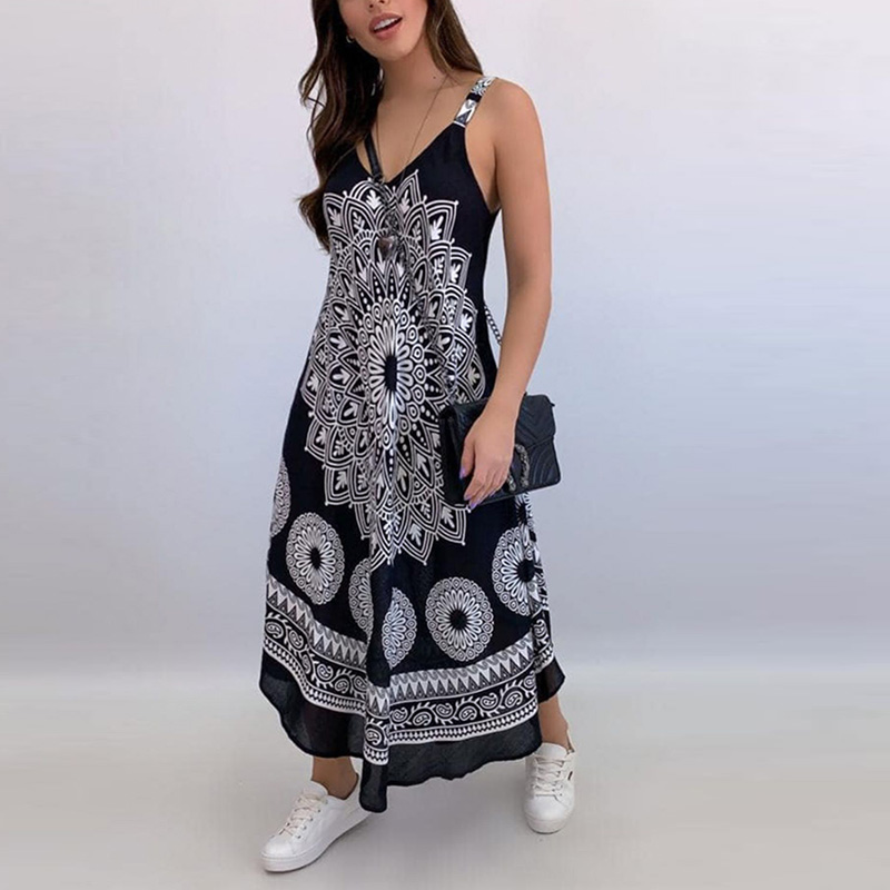 Women Sexy Backless Sleeveless Loose Beach Dress Summer Vintage Print Long A-Line Dresses Elegant Casual Strap Dress Vestido 3XL 10