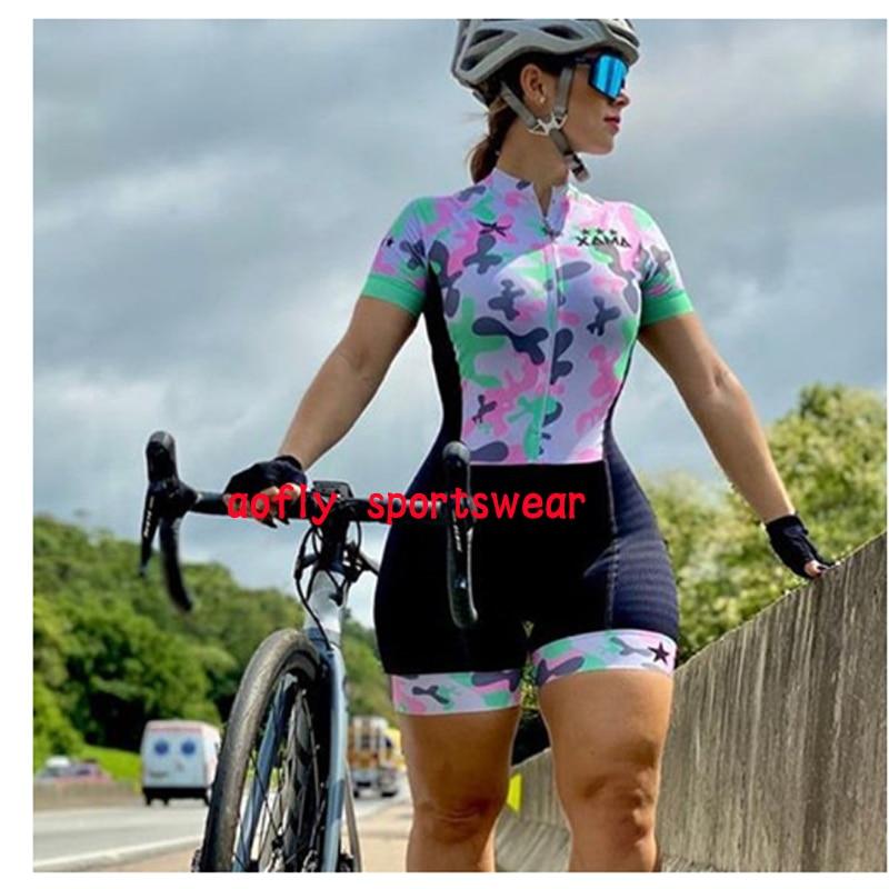 2020 xama pro feminino triathlon skinsuit bicicleta ciclismo conjuntos de jérsei macaquinho feminino roupas de bicicleta macacão gel almofada conjunto feminino ciclismo macaquinho ciclismo feminino  roupas com frete 12