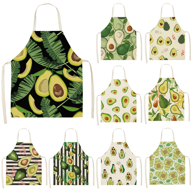 Avocado Tropical Print Cotton Linen Apron Kitchen Women Baking Waist Bib Home Cooking Brief Sleeveless Pinafore 53*65cm WQL0145